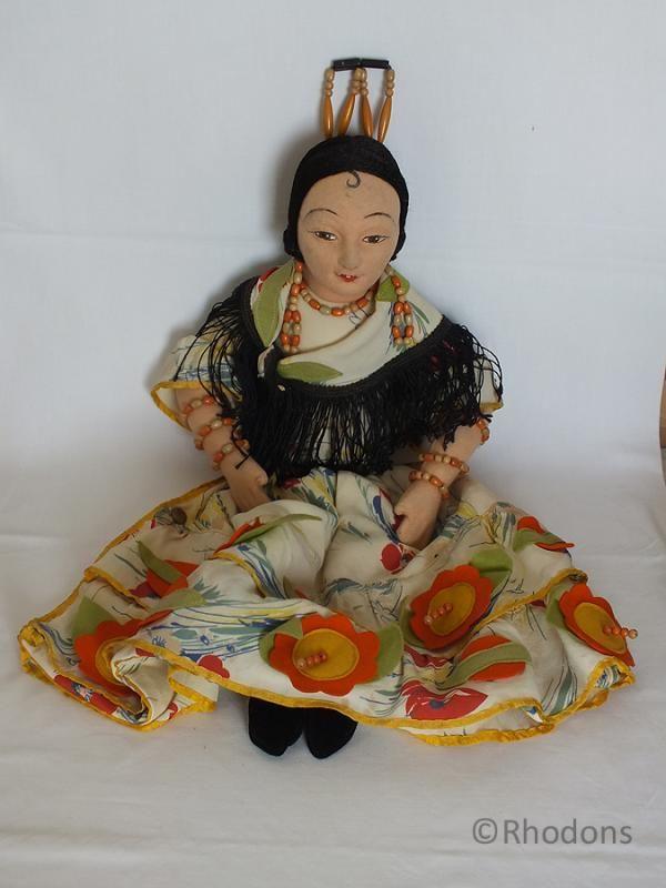 Vintage Norah Wellings Spanish Senorita Doll Nightdress Case | Antique & Vintage Womens Clothing Accessories, Night Dress Cases, Boudoir Dolls #spanishdolls