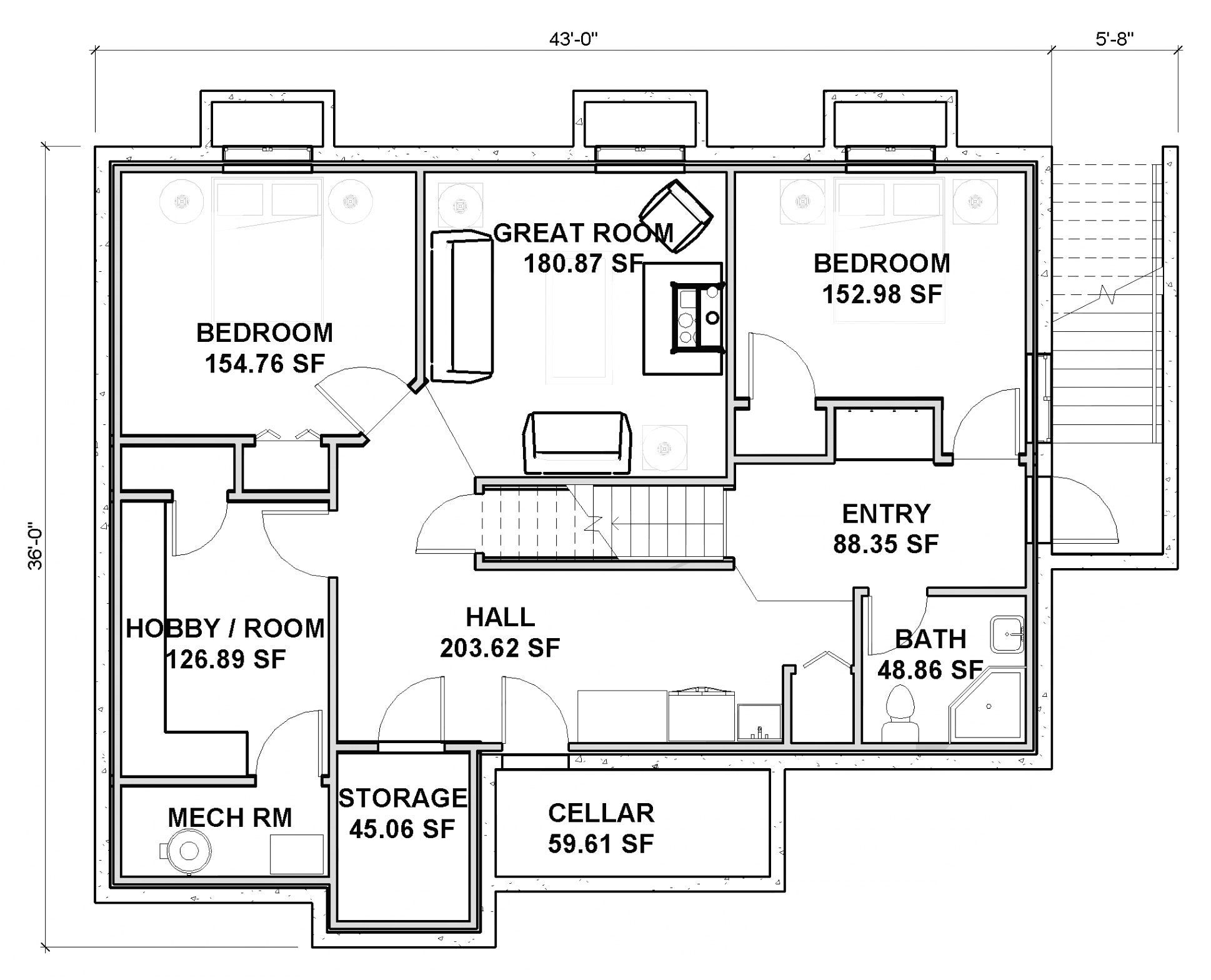 Ranch House Plan With Basement Tags Contemporary Ranch House