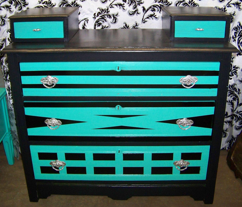 Bedroom Athletics Keira Bedroom Furniture Ideas 2016 Teal Blue Bedroom Ideas Bedroom Ceiling Light Fixtures Ideas: Vintage Hand Painted Geometric Black With Silver And