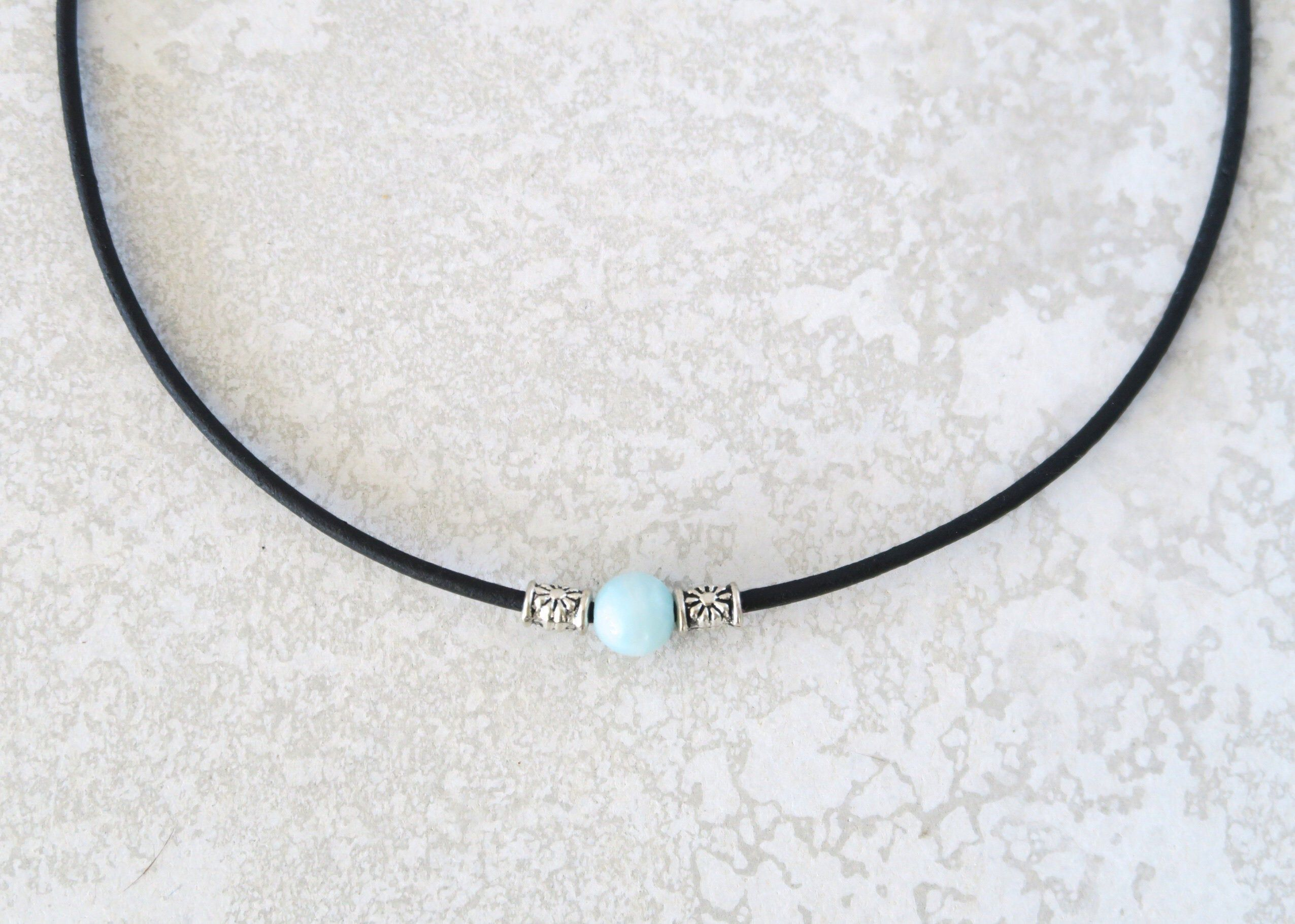 Amazonite necklace for women minimal leather choker with