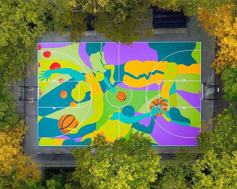 Street Artist Transforms Harlem Basketball Court Into Vibrant Mural Goruntuler Ile Tasarim