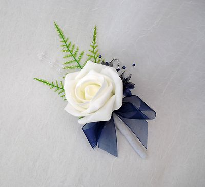 1 Single Rose Buttonholes In Ivory And Navy Blue