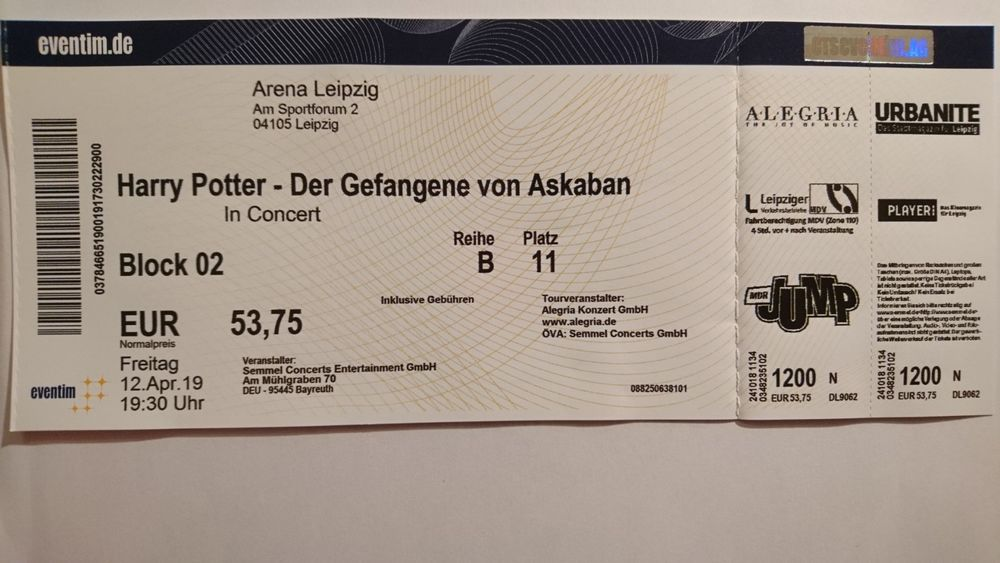 Anguebote Ticket Harry Potter Und Der Gefangene Von Askaban In Concert Https Ebay To 2m1uqbm