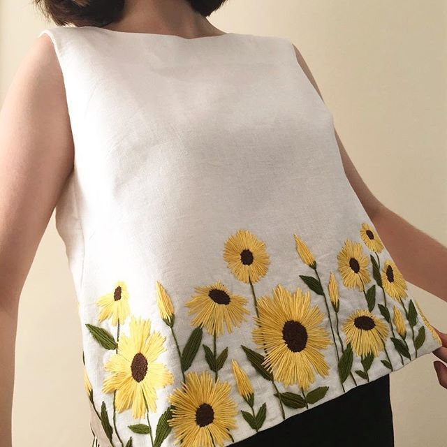 Wearing My Handmade Hand Embroidered Sunflower Linen Top Both Front Back PS If Youre Interested Ive Made A Blog Post Regarding