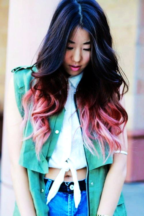 Womens Pink And Black Ombre Hair Extensions Curly Pink And Black