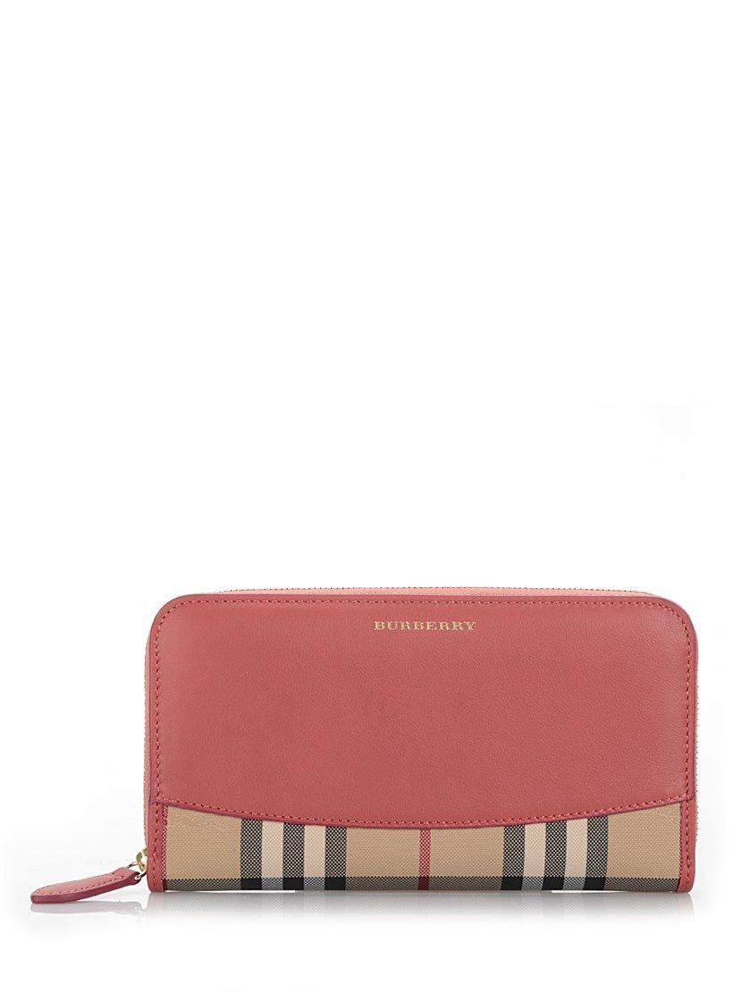 Zip Around Wallet in Bright Pink Grained Calfskin Burberry 3n8PyXbs