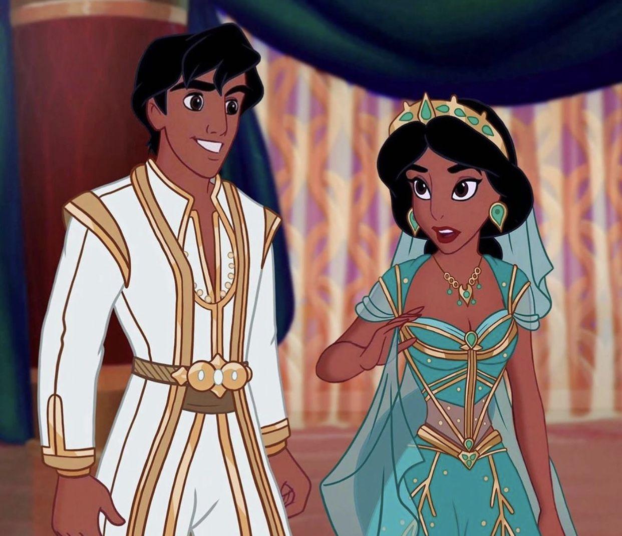 Princess Jasmine and Aladdin as Prince Ali from Disney's