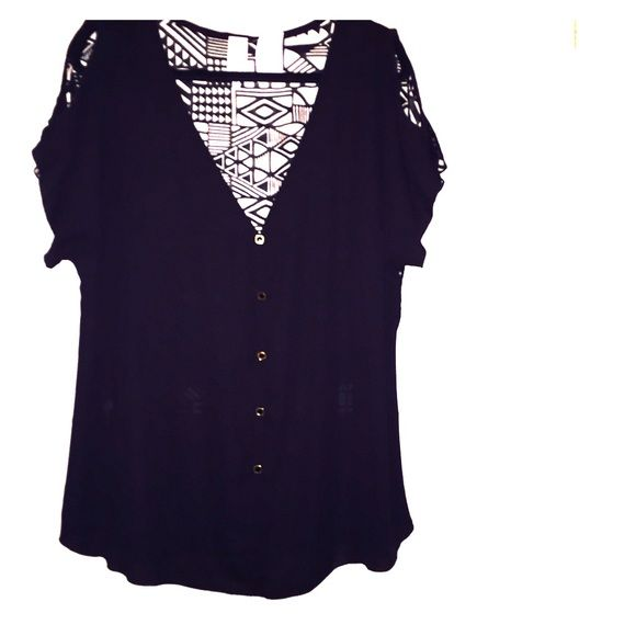 3XL black blouse Short sleeve, open shoulders, 100% polyester, gold buttons, see through back detail. Light weight and very comfy for spring and summer. Classy w/a sexy twist perfect with jeans or to dress up. Must have piece. ToTo collection. Brand new. Never used. Tops Button Down Shirts