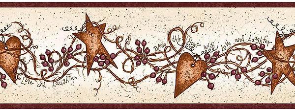 Hearts And Stars Wallpaper Border Fam65171b Primitive Scarbrough Faire