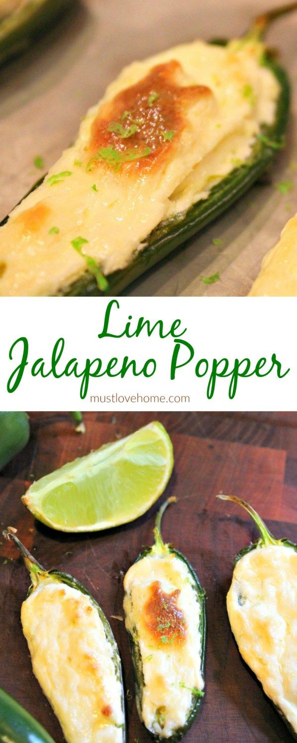 Lime Jalapeno Poppers Cream Cheese is the rich, smooth filling for these spicy Lime Jalapeno Poppers! These favorites are baked rather than deep fried. You'll want to pop them down one after another. A Cinco De Mayo classic! Featured on #OMHGWW
