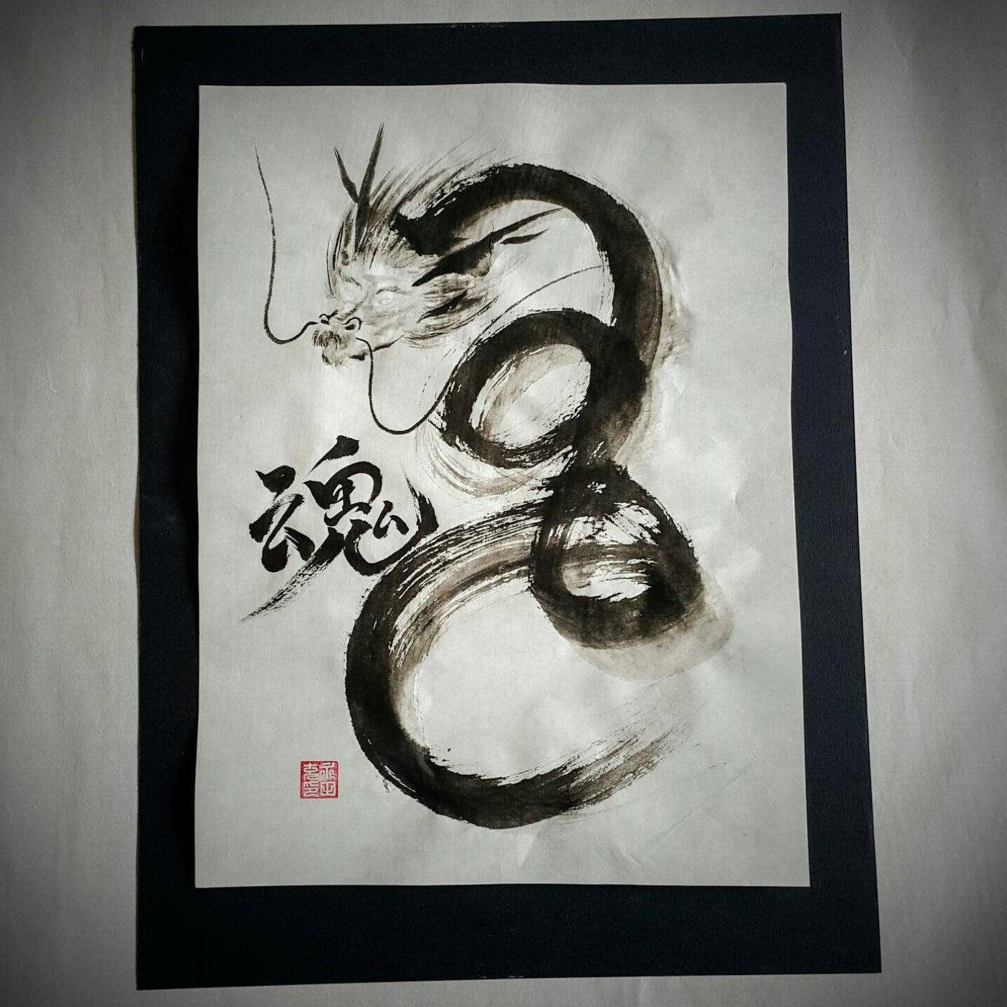 Dragon original painting made with sumi ink rice