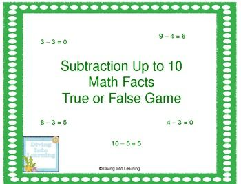 This board game focuses on deciding if the subtraction equation on the card is true or false. This game is aligned to first grade math common core standards.
