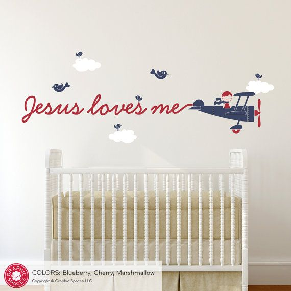 Jesus Loves Me Airplane Wall Decal Boy Or Girl By Graphicspaces - Wall decals for church nursery