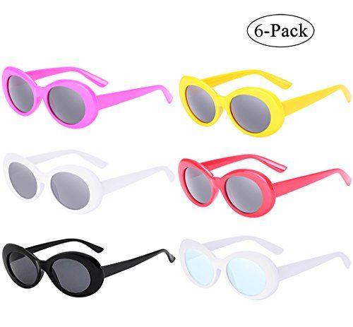 20f0ffb01 RTBOFY Retro Oval Mod Thick Frame Clout Goggles Kurt Cobain Sunglasses