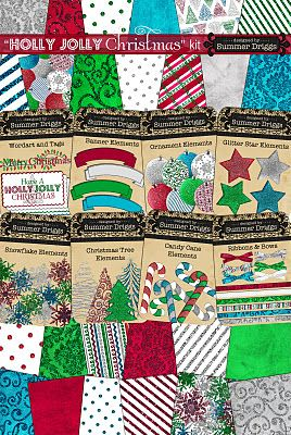 Free digital paper and elements for Christmas.