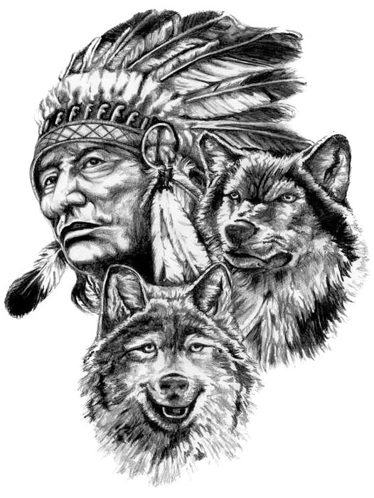 Indian Man And Wolves Native Tattoos Native American Drawing Native American Tattoos