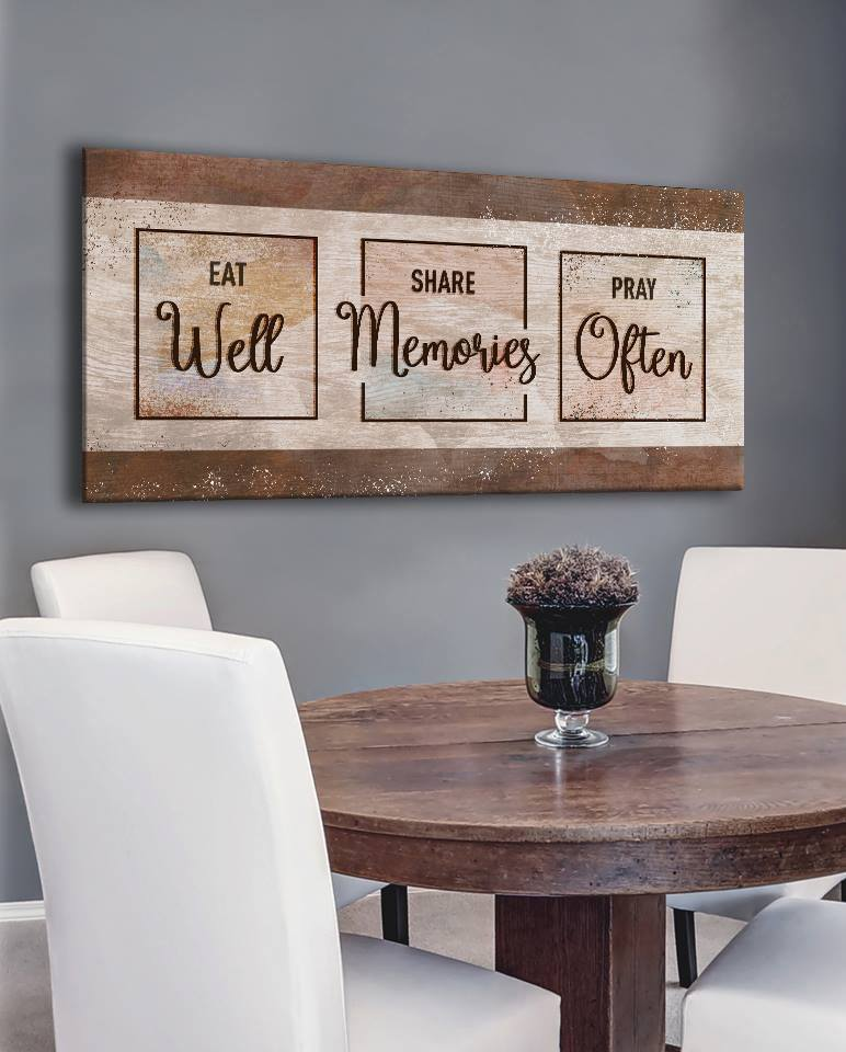 Christian Wall Art: Eat Share Pray (Wood Frame Ready To ...