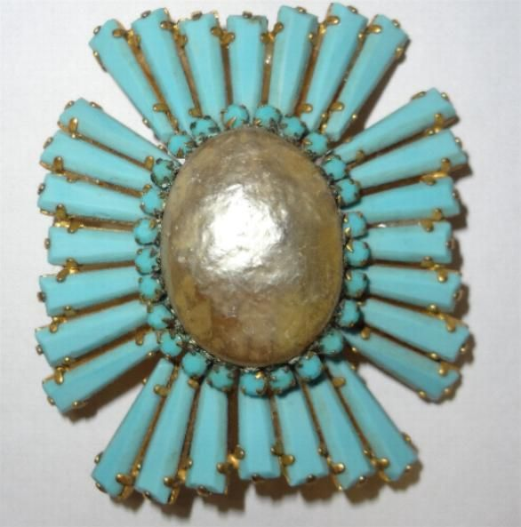 Gorgeous Schreiner Turquoise Glass Ruffle Brooch circa 1960 from antiquesshowroom on Ruby Lane