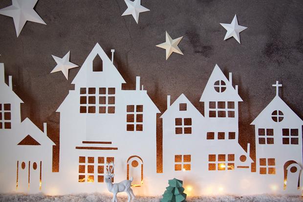 Illuminated Christmas Village Cutout Bellissima Kids Christmas Decorations Christmas Crafts Christmas Paper
