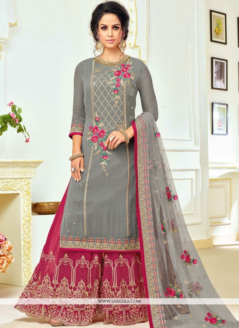 70cd91a7f9 True beauty will come out of your dressing design with this grey art silk designer  palazzo