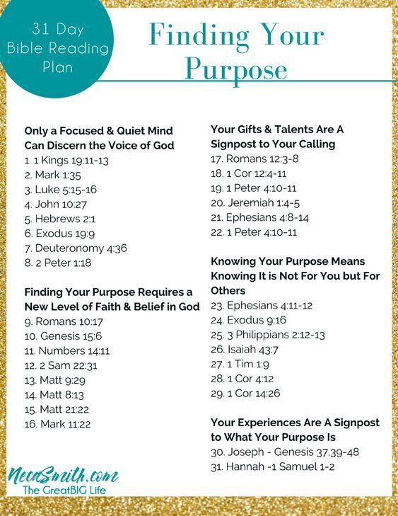 Finding Your Purpose - 31 Day Bible Reading Plan #bible