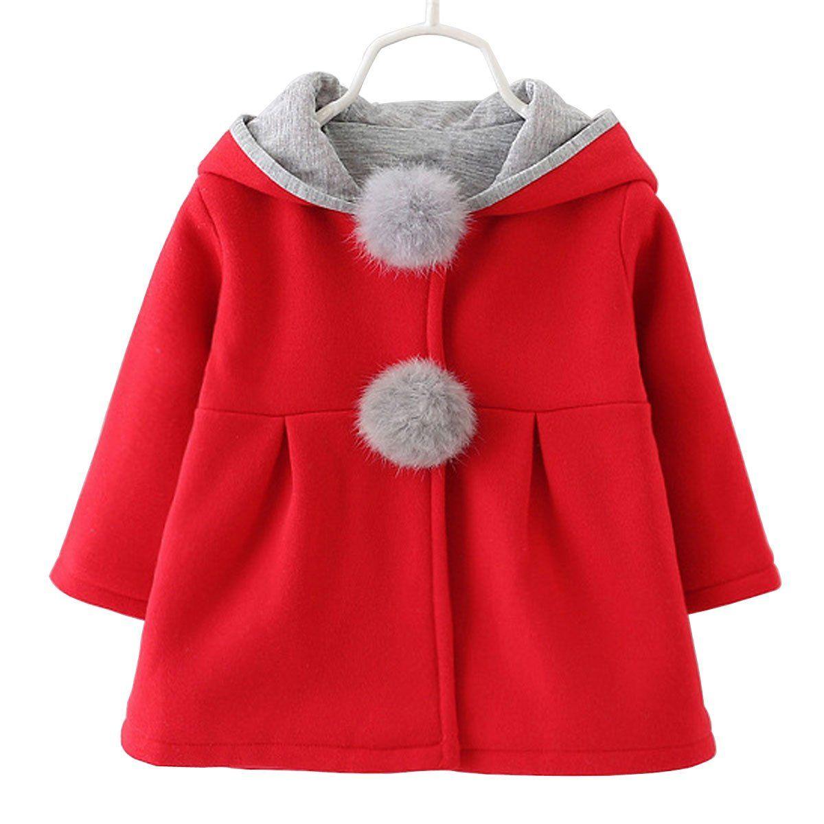 Baby Girls Toddler Kids Winter Big Ears Hoodie Jackets Outerwear