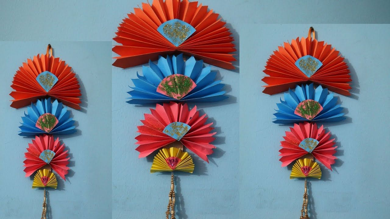 Diy Easy Wall Hanging Craft Ideas Using Colour Paper Decorati On Art