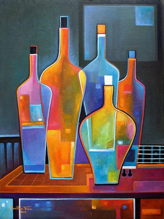 Cubist Painting Abstract Original Art Oil Wine Bottles Guitar ...