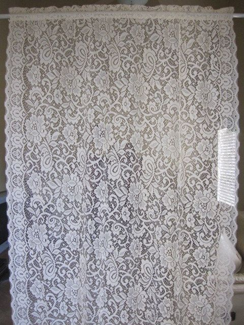 Something Similar As Draperies Around Bed Window Are Hardanger Repin Vintage Lace Curtain Off White Floral By TheCottageWay 1950