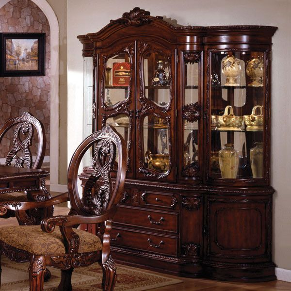 Tuscany Colonial Style Antique Cherry Formal Dining China Cabinet Hutch