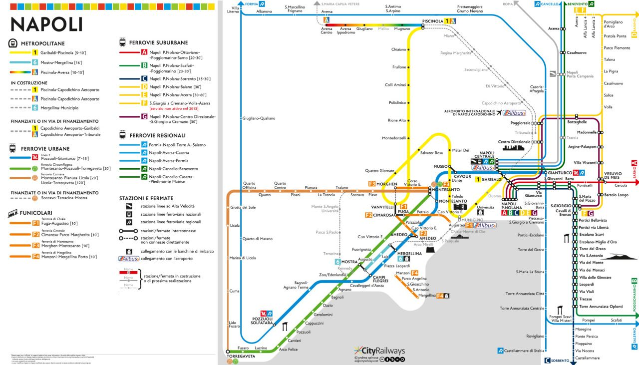 Naples Subway Map.Unofficial Map Of Naples Napoli Italy Metro Subway System