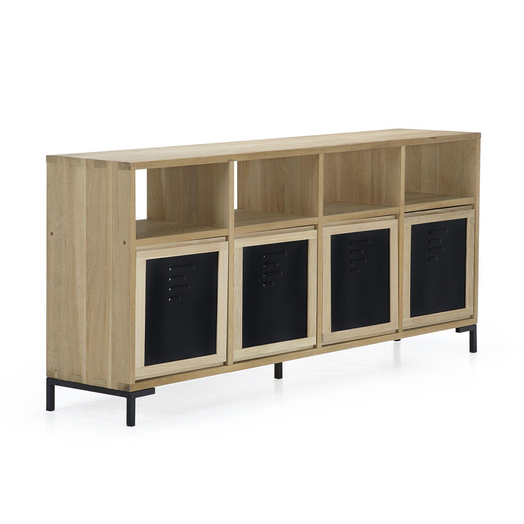 Buffet meuble tv en ch ne massif et m tal naturel noir tassia les meubles t l les - Meuble tv en chene naturel ...