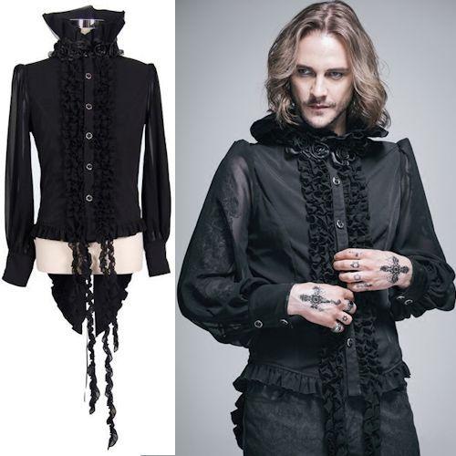 Black Chiffon Long Sleeve Victorian Gothic Fashion Dress Shirts Men SKU 11407107
