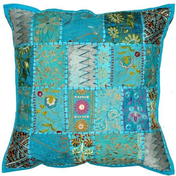 2pc Blue Indian Bohemian Pillow Patchwork Pillow Indian Cushion Decorative Throw Pillow Toss Pillow
