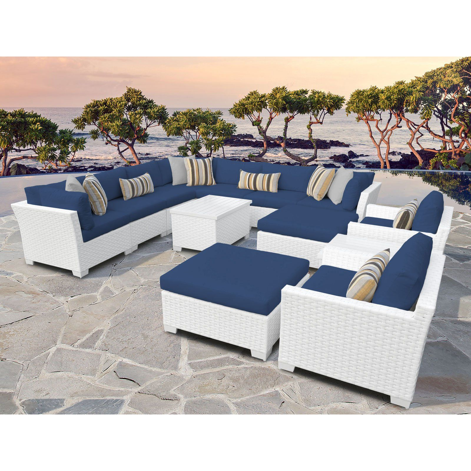 Tk Classics Monaco 13 Piece Outdoor Wicker Patio Conversation Set