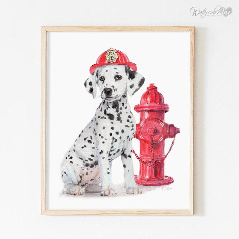 Dalmatian Puppy Art Print Fire House Dog Fire Truck Dog Etsy In 2021 Firefighter Art Dalmatian Puppy Nursery Wall Art