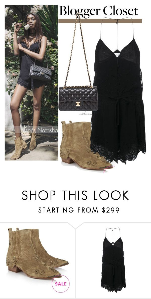 """""""Blogger Closet: Little Black Romper"""" by arethaman ❤ liked on Polyvore featuring Ash, IRO and Chanel"""