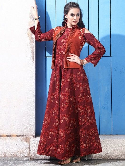 ca06d959b7 Shop Maroon color cotton silk one piece suit online from G3fashion India.  Brand - G3, Product code - G3-WSS00366, Price - 6695, Color - Maroon, ...