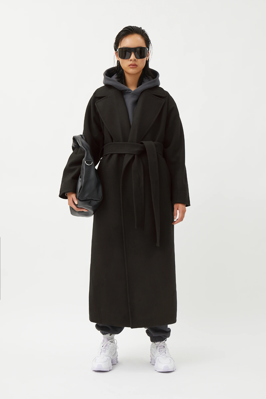 Kia Wool Blend Coat Black Jackets Coats Weekday Coat Belted Coat Outfit Wool Coat Outfit [ 1500 x 1000 Pixel ]