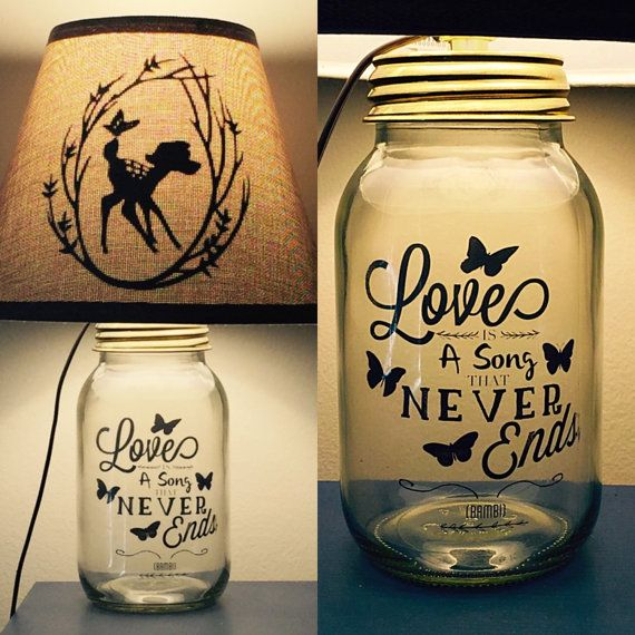 Hey, I found this really awesome Etsy listing at https://www.etsy.com/listing/240277693/bambi-inspried-mason-jar-lamp