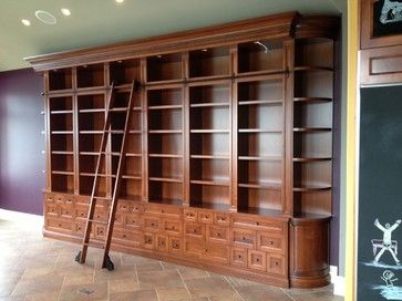 Large Custom Bookcase With Rolling Ladder Traditional Large