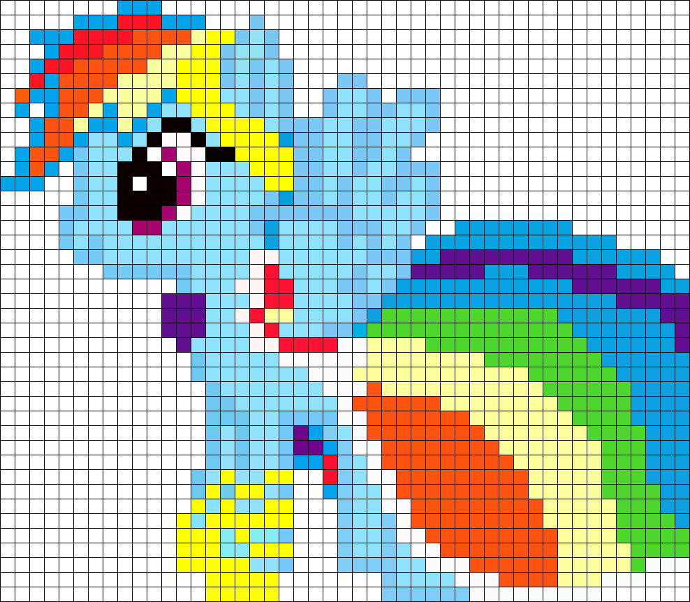 Gala Rainbow Dash My Little Pony Perler Bead Pattern / Bead Sprite