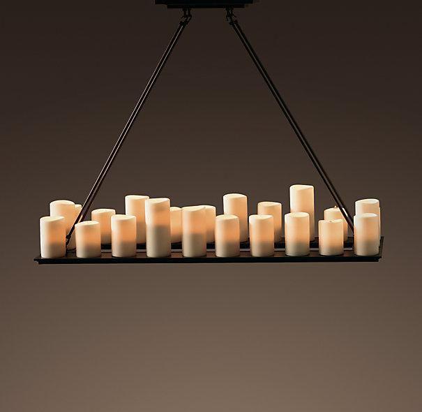 Rectangle Candle Chandelier Lighting