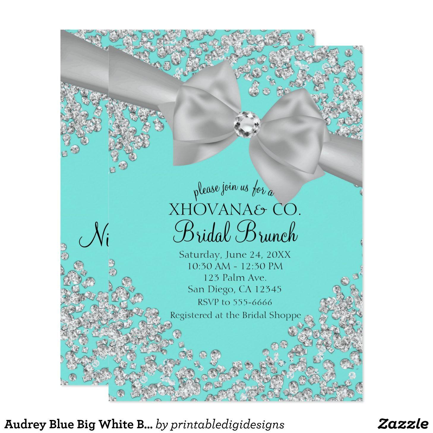 audrey blue big white bow diamonds bridal shower invitation