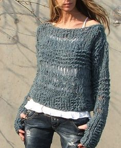 Teal blue grunge sweater / loose knit approx 2 left in this shade ...