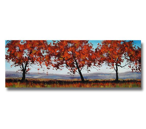 Trees in The Meadow Large Trees Painting van GerckenGallery op Etsy