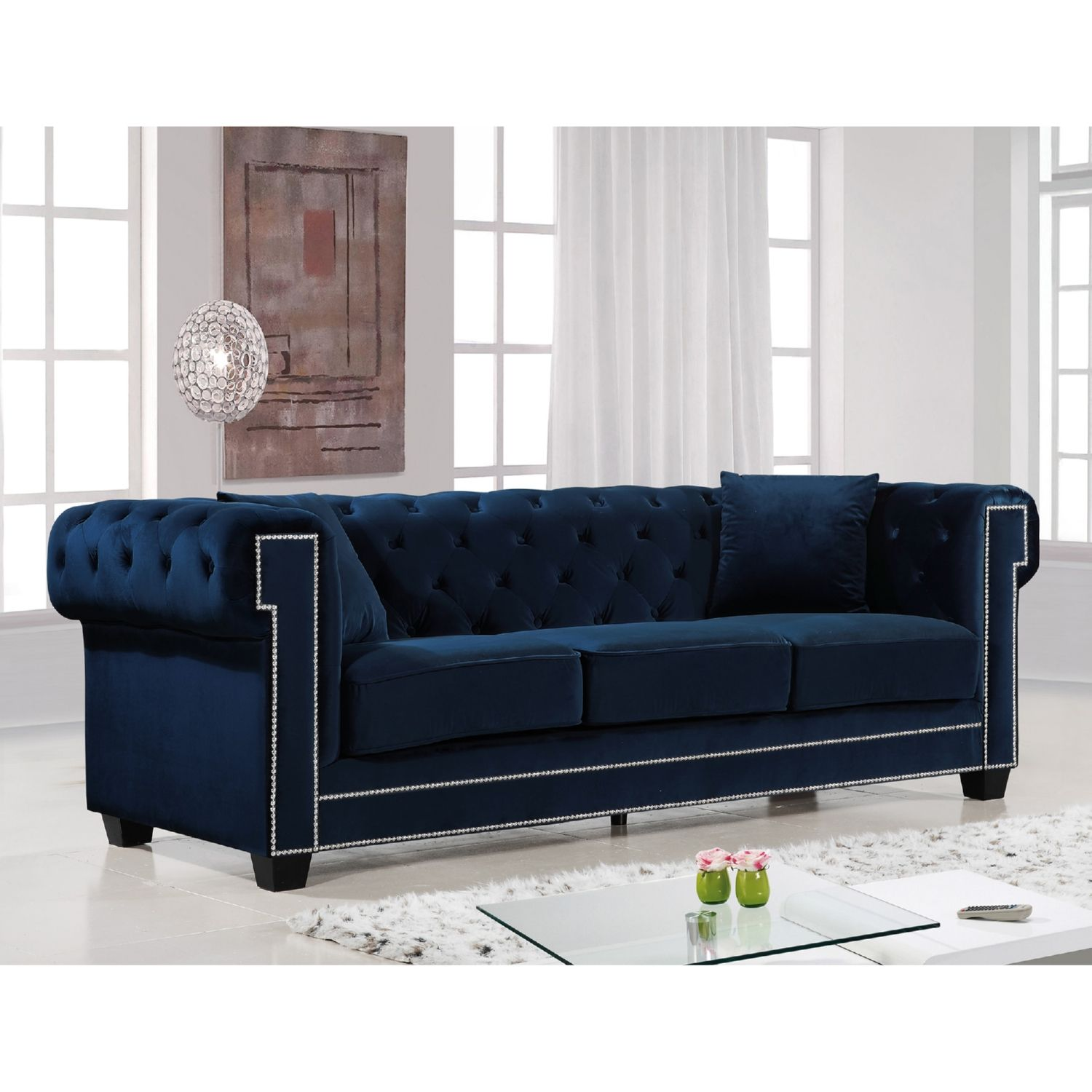 Meridian Furniture 614navy S Bowery Navy Tufted Velvet Sofa