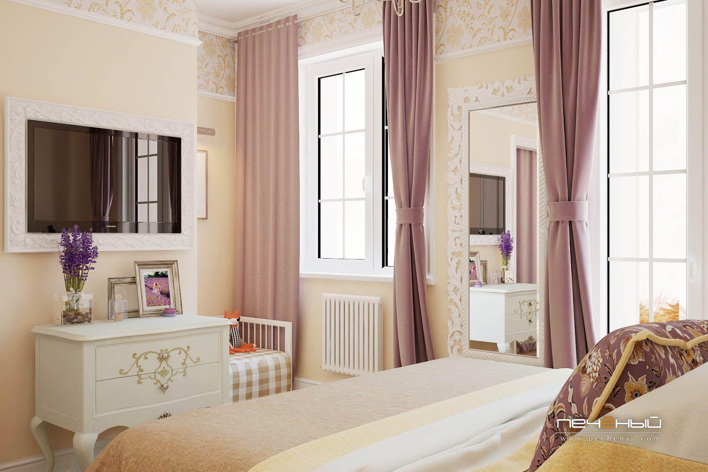 Дизайн интерьера спальни в загородном доме, в коттедже ...