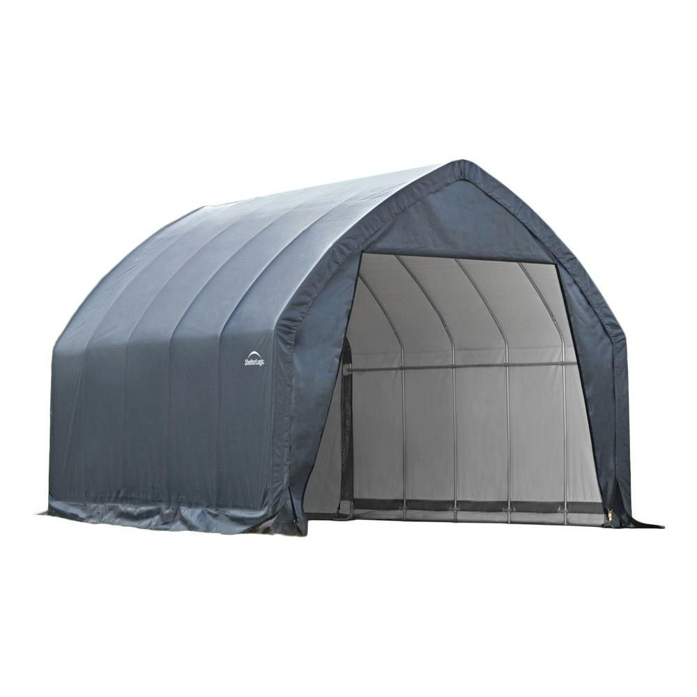 Shelterlogic 13 Ft W X 20 Ft D X 12 Ft H Alpine Style Garage In A Box With Advanced Engineered Fabric And Easy Slide Rail System 62693 The Home Depot Portable Garage Carport Carport Tent