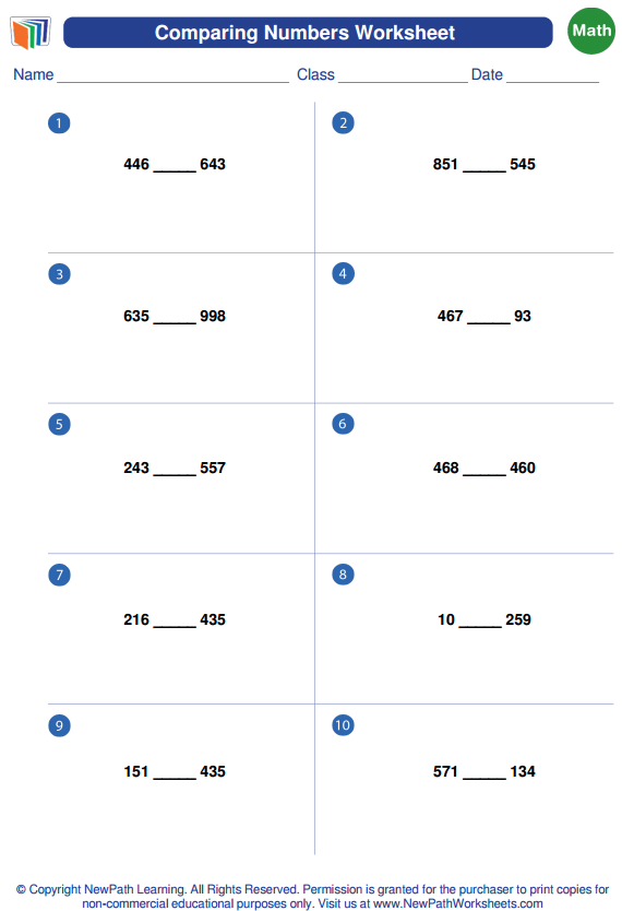 Try Out Our Free Comparing Numbers Worksheet Generator Here Https Newpathworksheets Com Math Worksheet Gen Math Worksheet Worksheets Free Math Worksheets